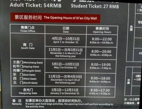 Horario de apertura de la muralla de Xian