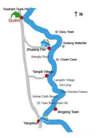 li river cruise yangshuo map