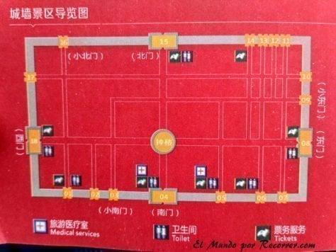 Mapa con las diferentes entradas a la muralla de Xian