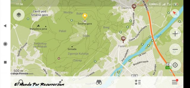 caminos hacia smarna gora slovenia mapa con paradas de autobus