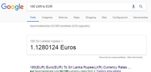 sri lanka rupias euros pesetas conversion