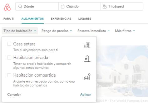 airbnb descuento cupon tipos de habitacion