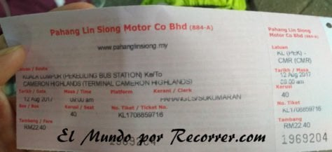 Malasia comida Kuala Lumpur Cameron Highlands autobus billete precio
