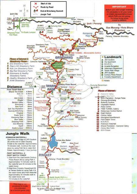 Map cameron Highlands free gratis trails