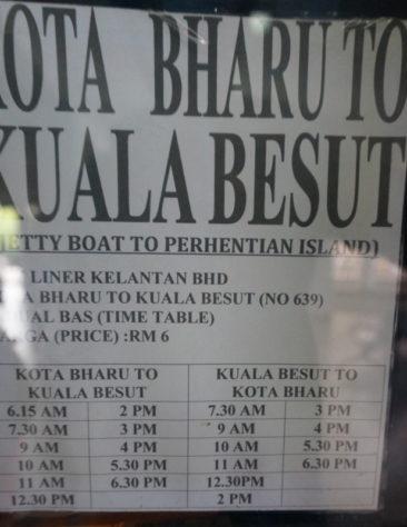 Taman Negara bus from kota bharu to kuala besut