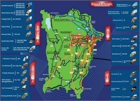 mapa penang isla transporte
