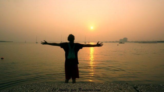 Doha Qatar puesta de sol