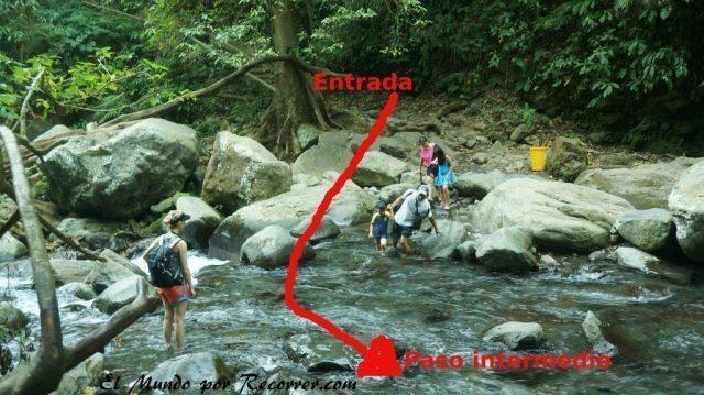 Senaru waterfall guia camino cruzar rio