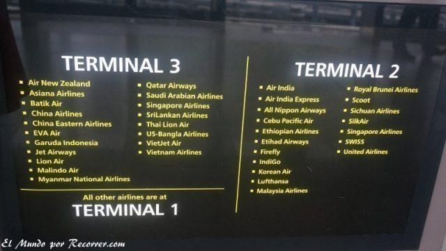 Singapur changi aeropuerto terminales companias