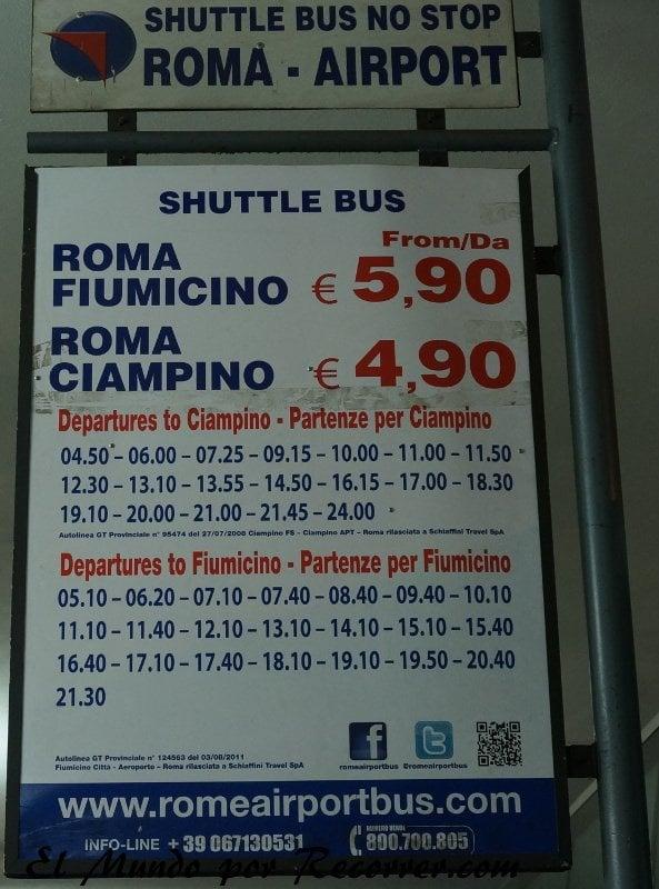Viaje a Roma Italia horarios funccino aeropuerto termini