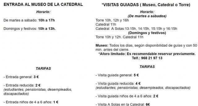 horario catedral murcia visitas guiadas