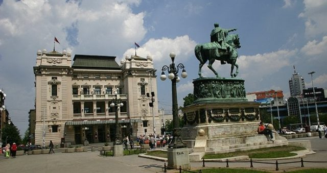 Republic Square and National Theatre Belgrade Serbia D