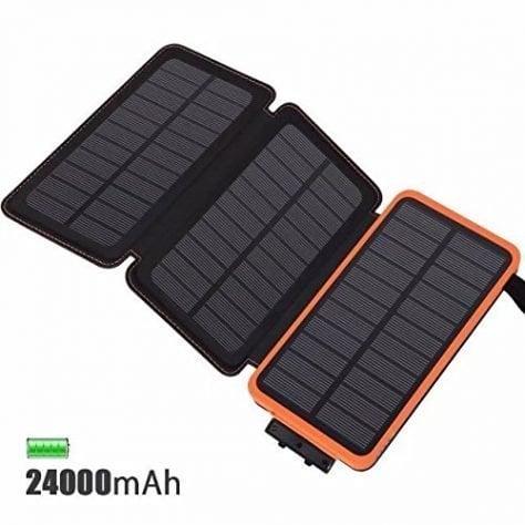 Cargador Solar  mAh Batería Externa Feelle Power bank Portátil con  Paneles Solares
