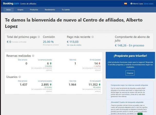 booking afiliados dashboard