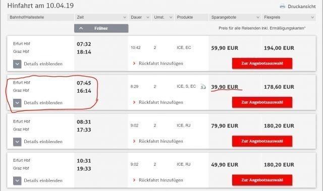 trenes internacionales graz erfurt precios