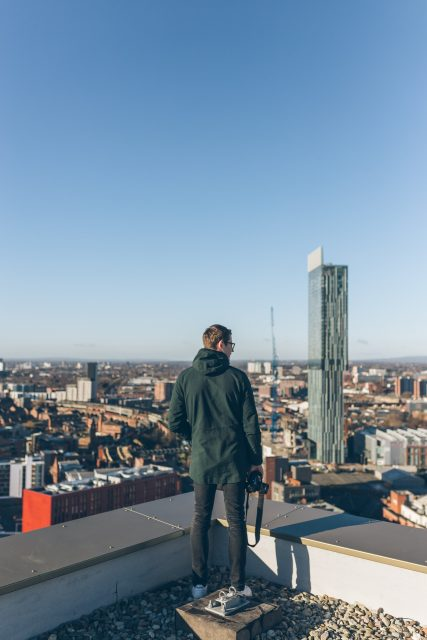 man standing on the terrace in manchester