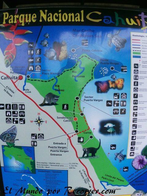 Viajar a Puerto Viejo Costa Rica en limon parque nacional cahuita mapa