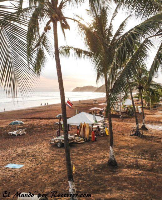 Jaco costa rica playa con palmeras