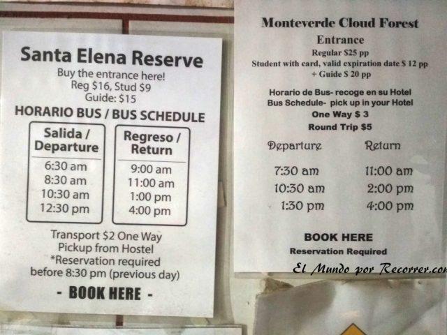 Monteverde San Carlos Costa Rica bus reserva