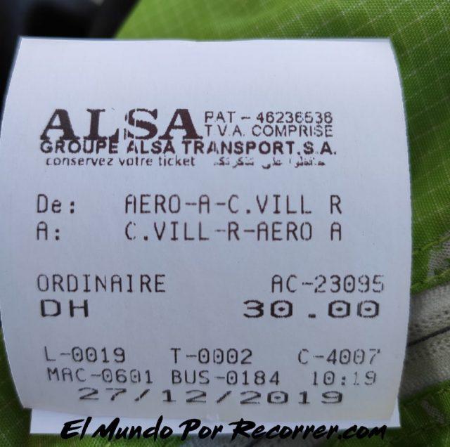 marrakech marruecos billete autobus alsa desde el aeropuerto precio