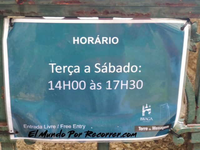 Braga Portugal horario torre homenage