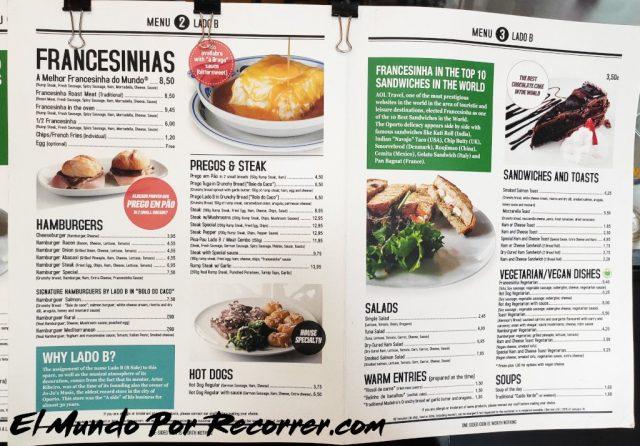 Braga Portugal lado b menu precios