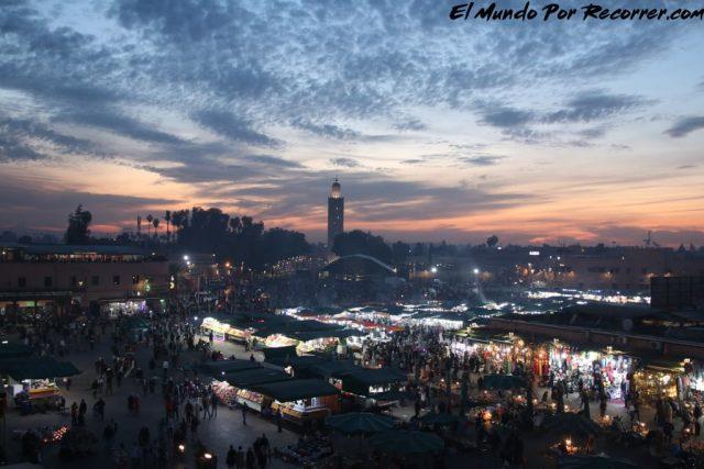marrakech marruecos vista sunset desde la terraza de te jama fna plaza