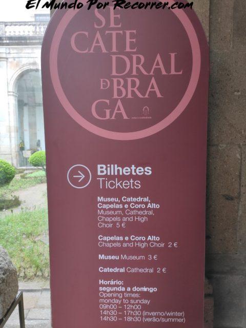 Braga Portugal se catedral horario